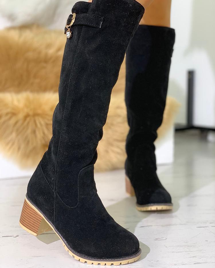 Buckle Side Over Knee Chunky Heel Boots