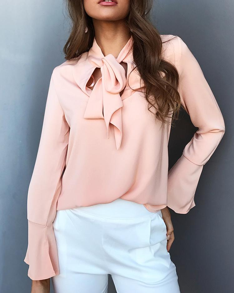 Curve Hem Tied Front Flare Sleeve Blouse - Pink