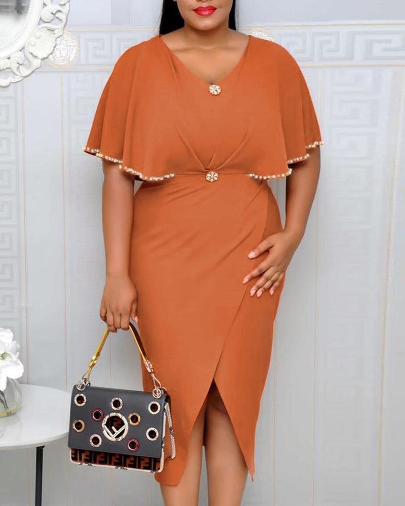 chicme / Beaded Ruffles Design Slit Irregular Dress