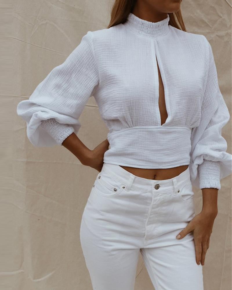 Cutout Front Button Back Crop Tops, White