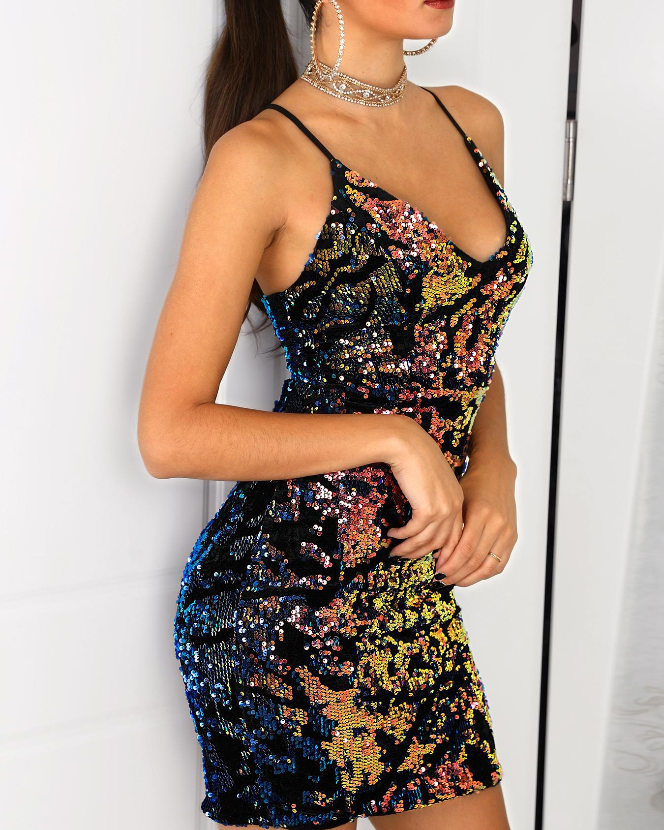 Deep V Lace-up Backless Bodycon Sequin Dress