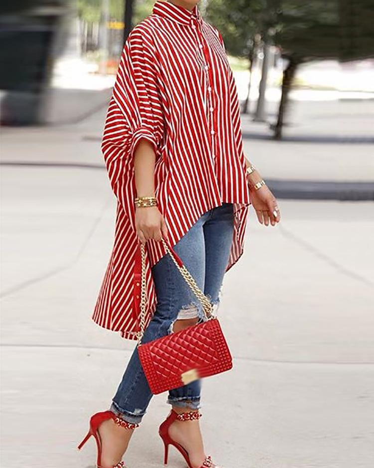 Striped Batwing Sleeve Dip Hem Blouse, Red