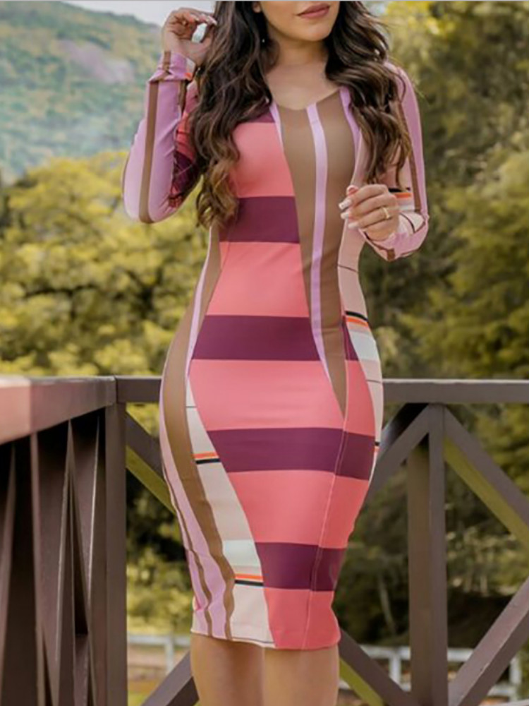 joyshoetique / Contrast Color Long Sleeve Bodycon Dress