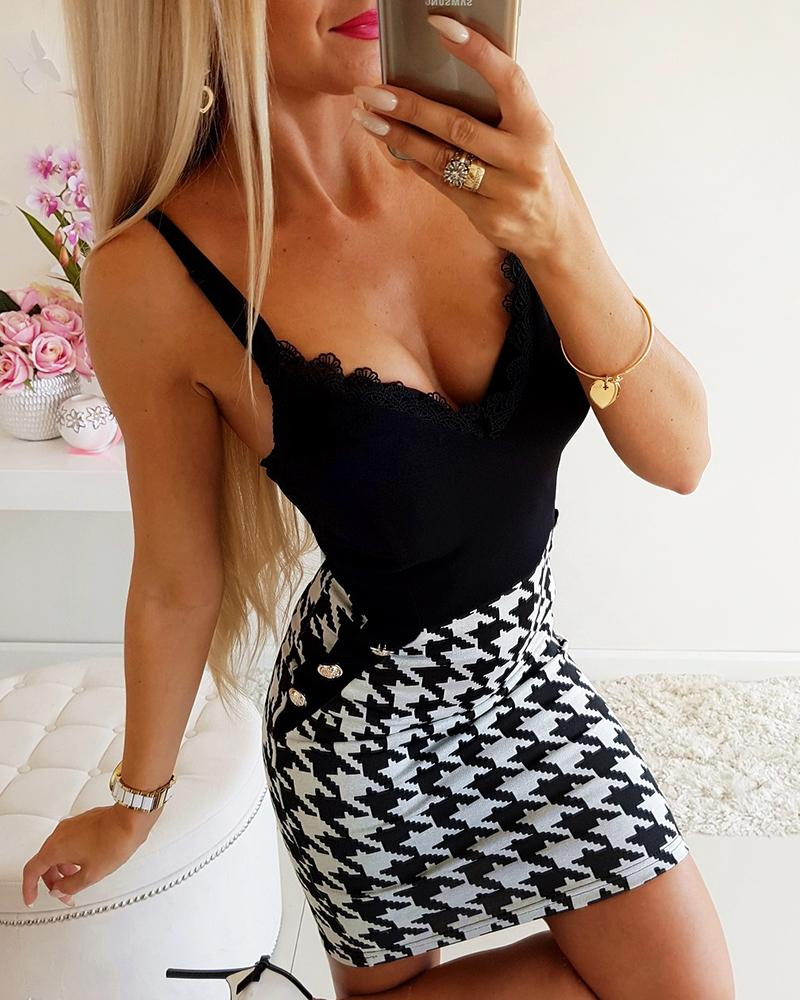 Houndstooth Insert Lace Detail Buttoned Slip Dress