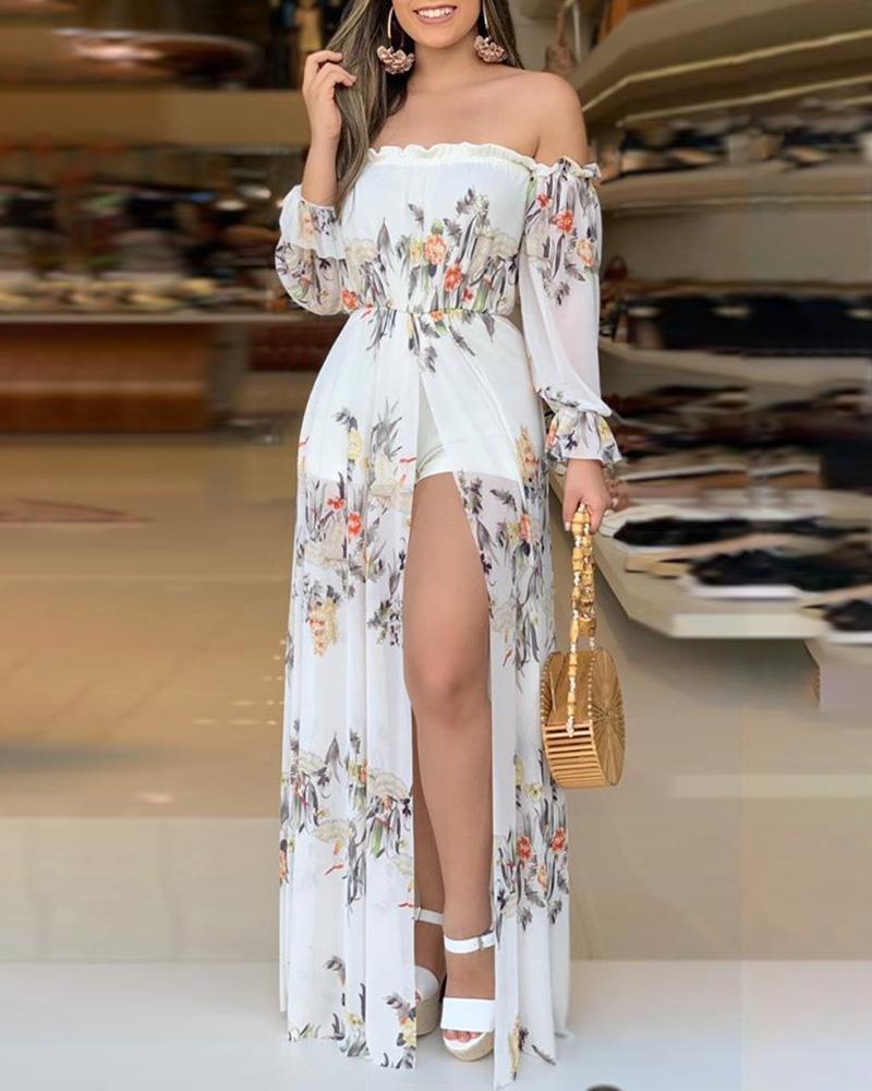 ivrose / Impressão floral Culotte Design Thigh Slit Romper