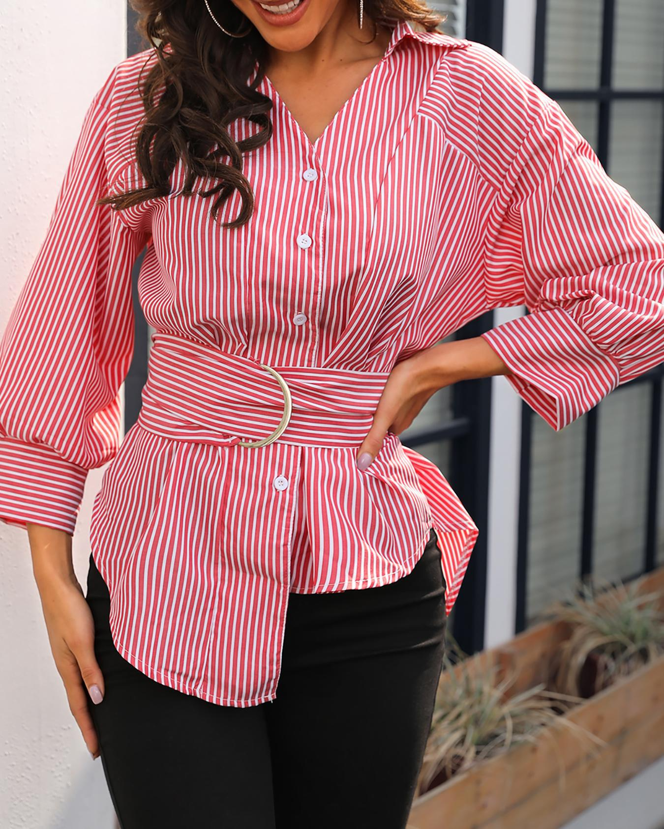 boutiquefeel / Pinstripes Button Up Blusa com cinto Irregular