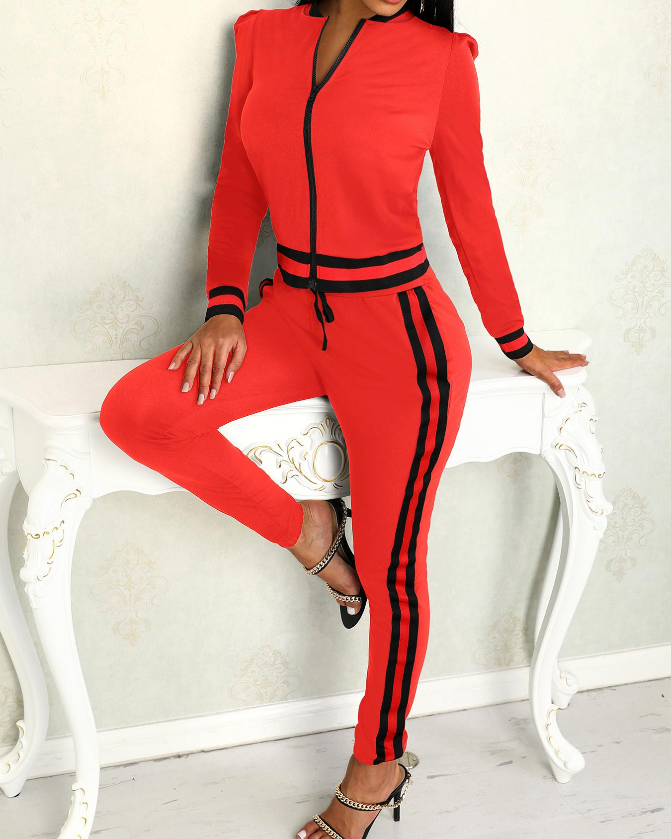 Contrast Binding Leg of Mutton Sleeve Pantsuit фото