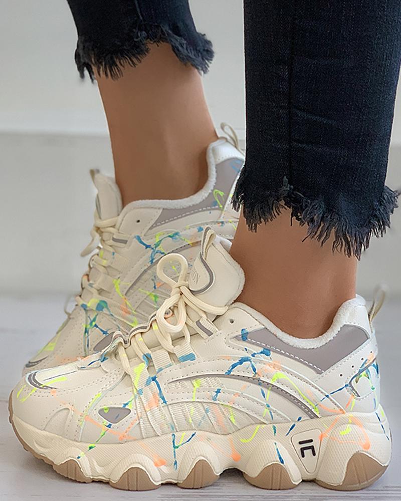 joyshoetique / Colorblock Lace-up Chunky Sneaker