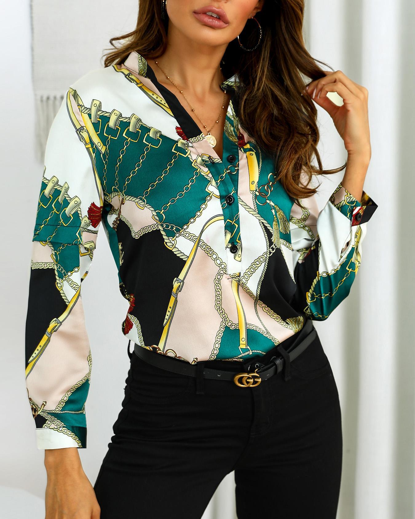 boutiquefeel / Camisa Casual Meio Placket Imprimir