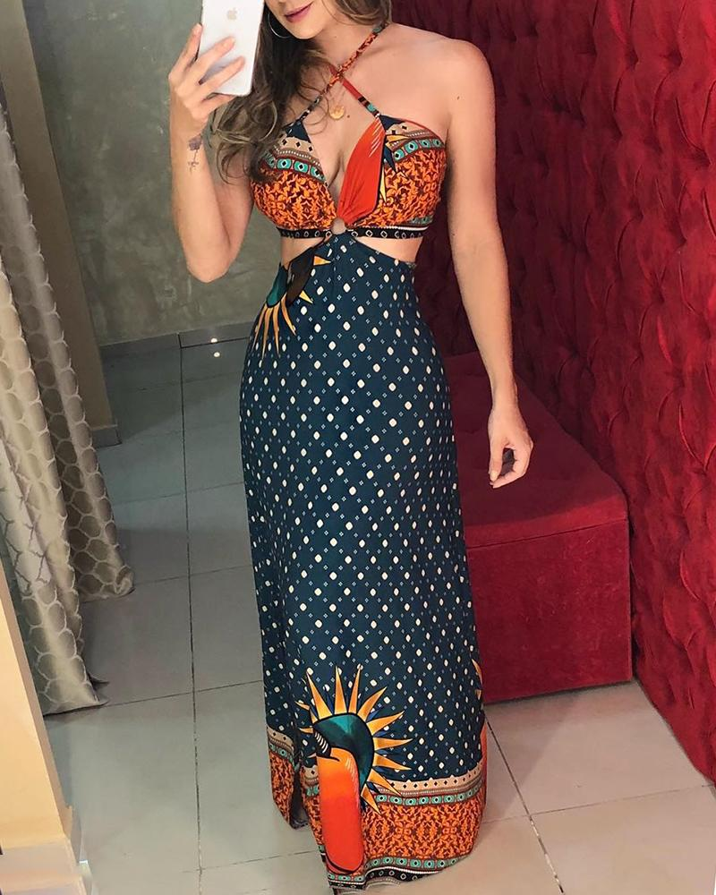 Halter Mixed Print Cutout Maxi Dress