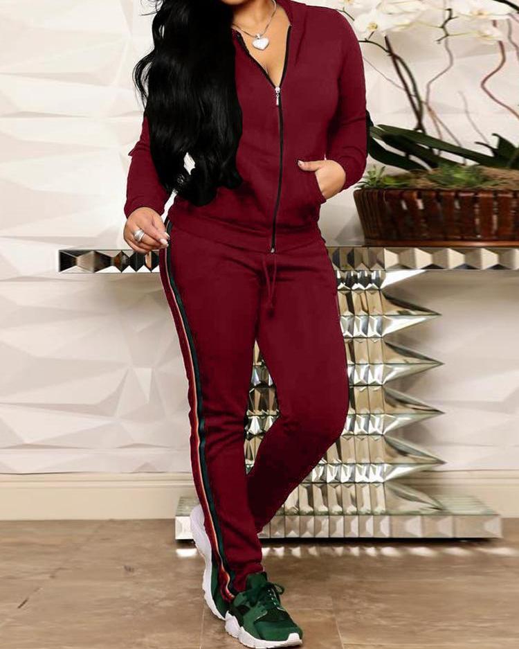 ivrose / Cinta a rayas con capucha, conjuntos de chaqueta y pantalones con cremallera
