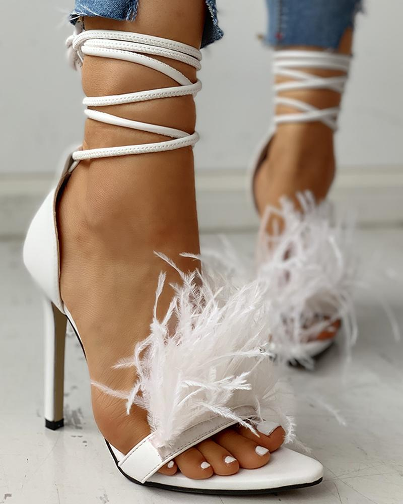 Feather Suede Open Toe Heeled Sandals, White