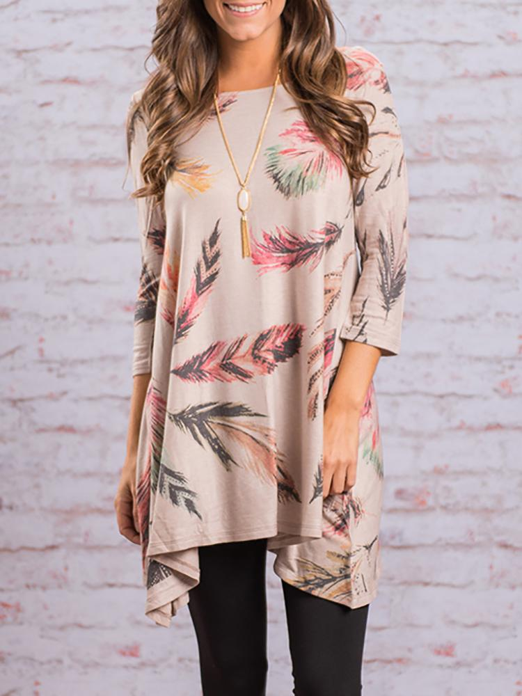 Asymmetric Pleated Floral Print Casual Blouse