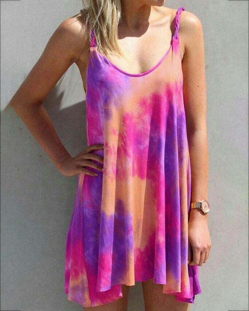 Tie Dye Print U-neck Casual Dress фото