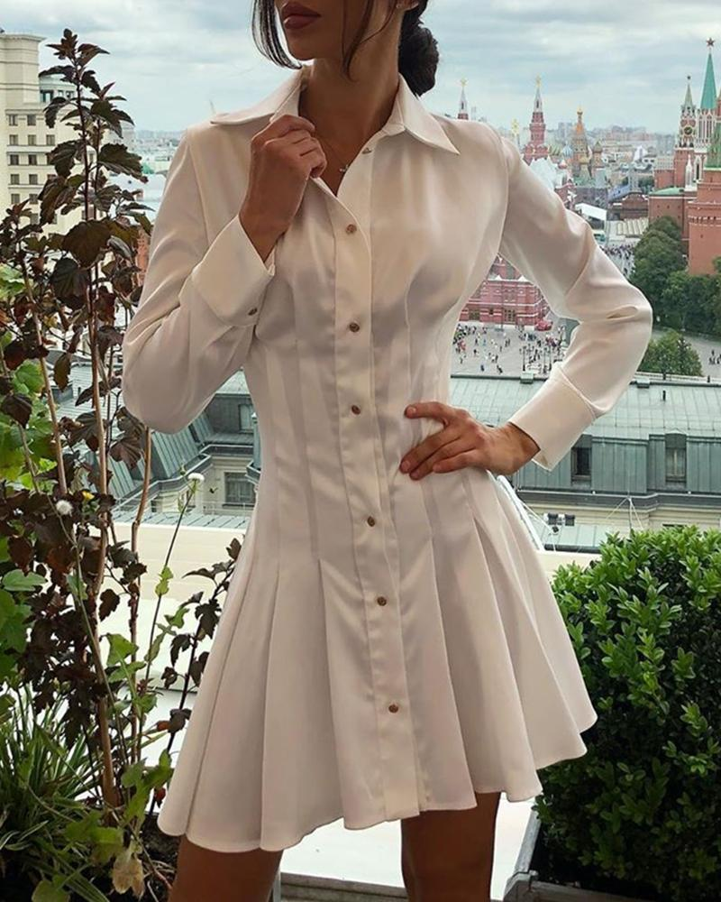 ivrose / Solid Buttoned Pleated Shirt Dress