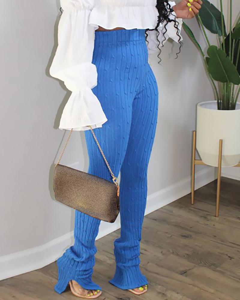 boutiquefeel / Pantalones con detalle de puños y aberturas en la cintura alta