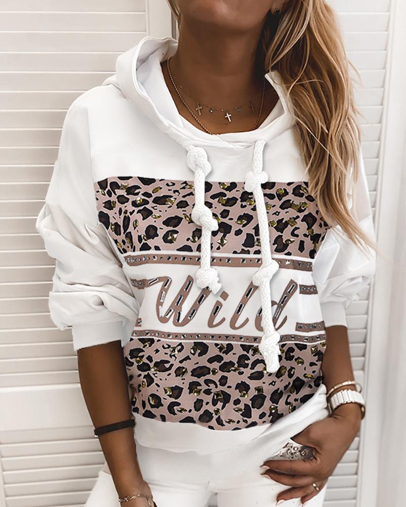 ivrose / Sudadera con capucha de manga larga con estampado de leopardo