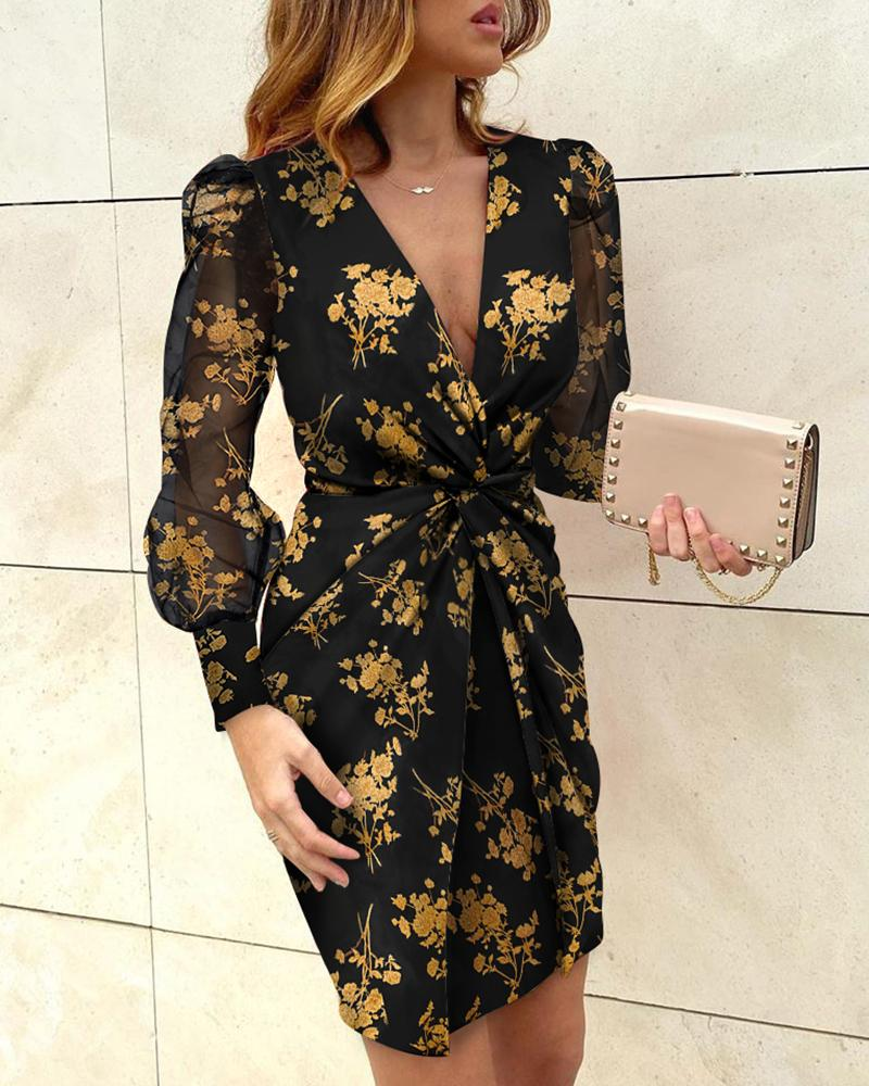 Puffed Sleeve Floral Print Twisted Dress фото