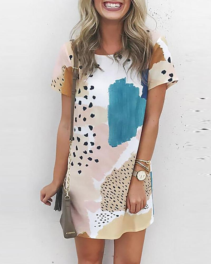 ivrose / Cheetah Print Colorblock Vestido Casual