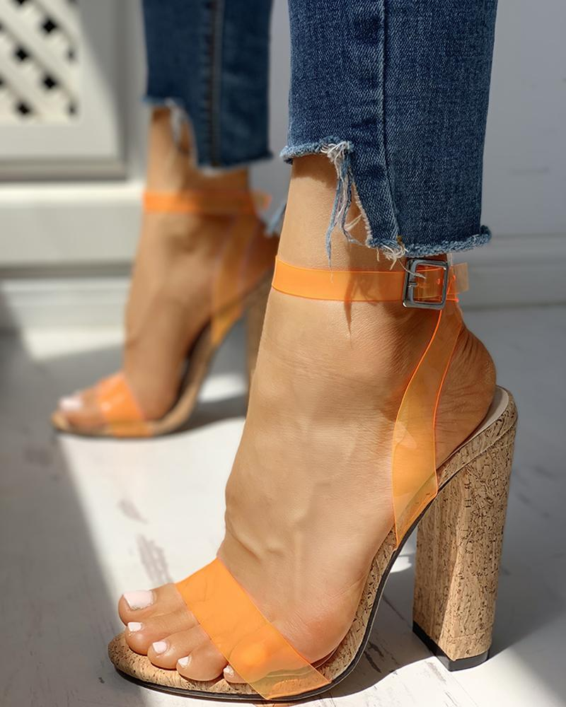 Open Toe Transparent Strap Chunky Heeled Sandals, Orange