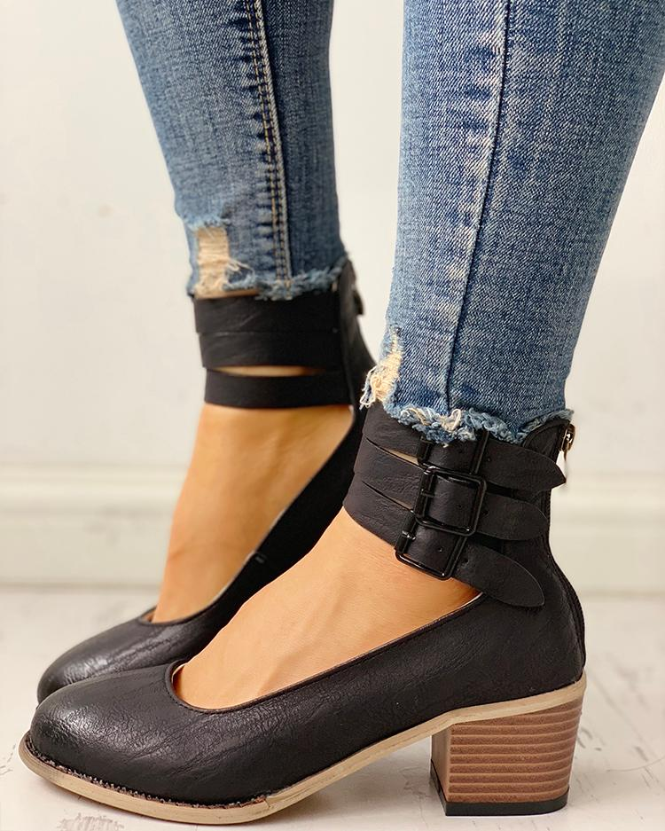 Ankle Buckled Zipper Back Chunky Heels