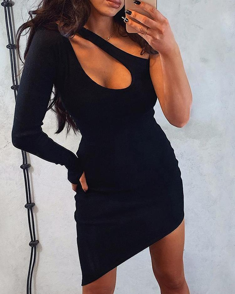 ivrose / One Shoulder Cut Out Irregular Bodycon Dress