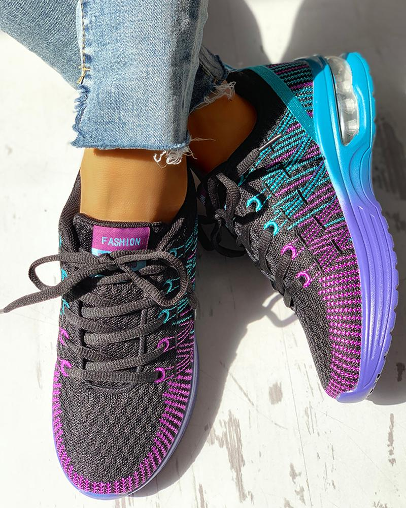 Colorblock Knitted Breathable Lace-Up Sneakers фото