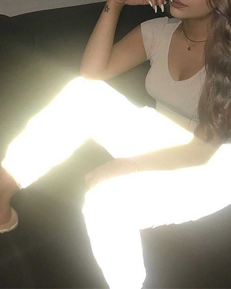 Reflective Casual Elastic Waist Pants фото