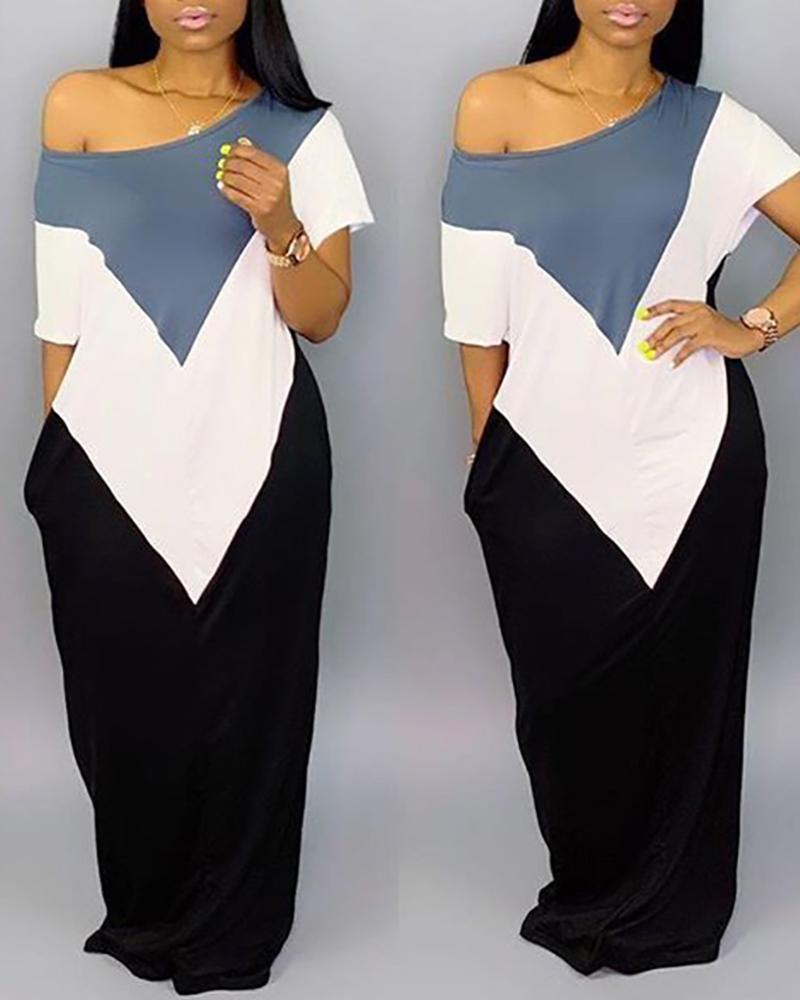 Casual Loose Contrast Color Dress фото