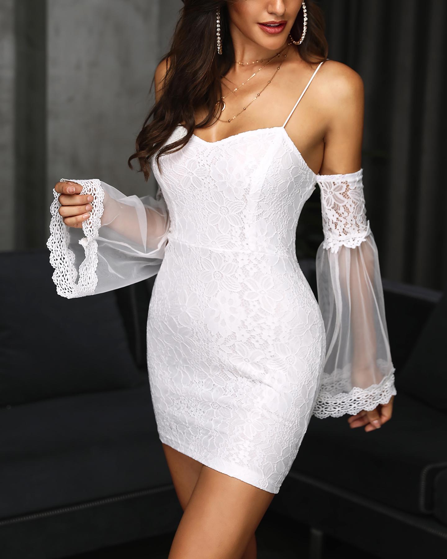 Sheer Mesh Flare Sleeve Bodycon Lace Dress фото