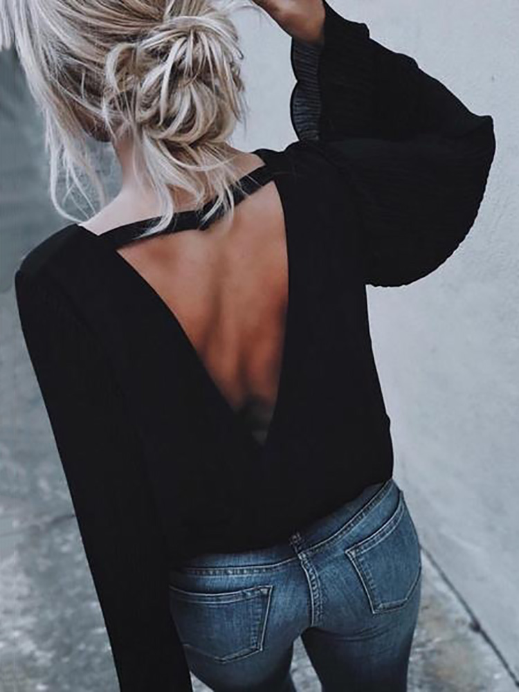 Black Open Back Flare Sleeve Casual Blouse