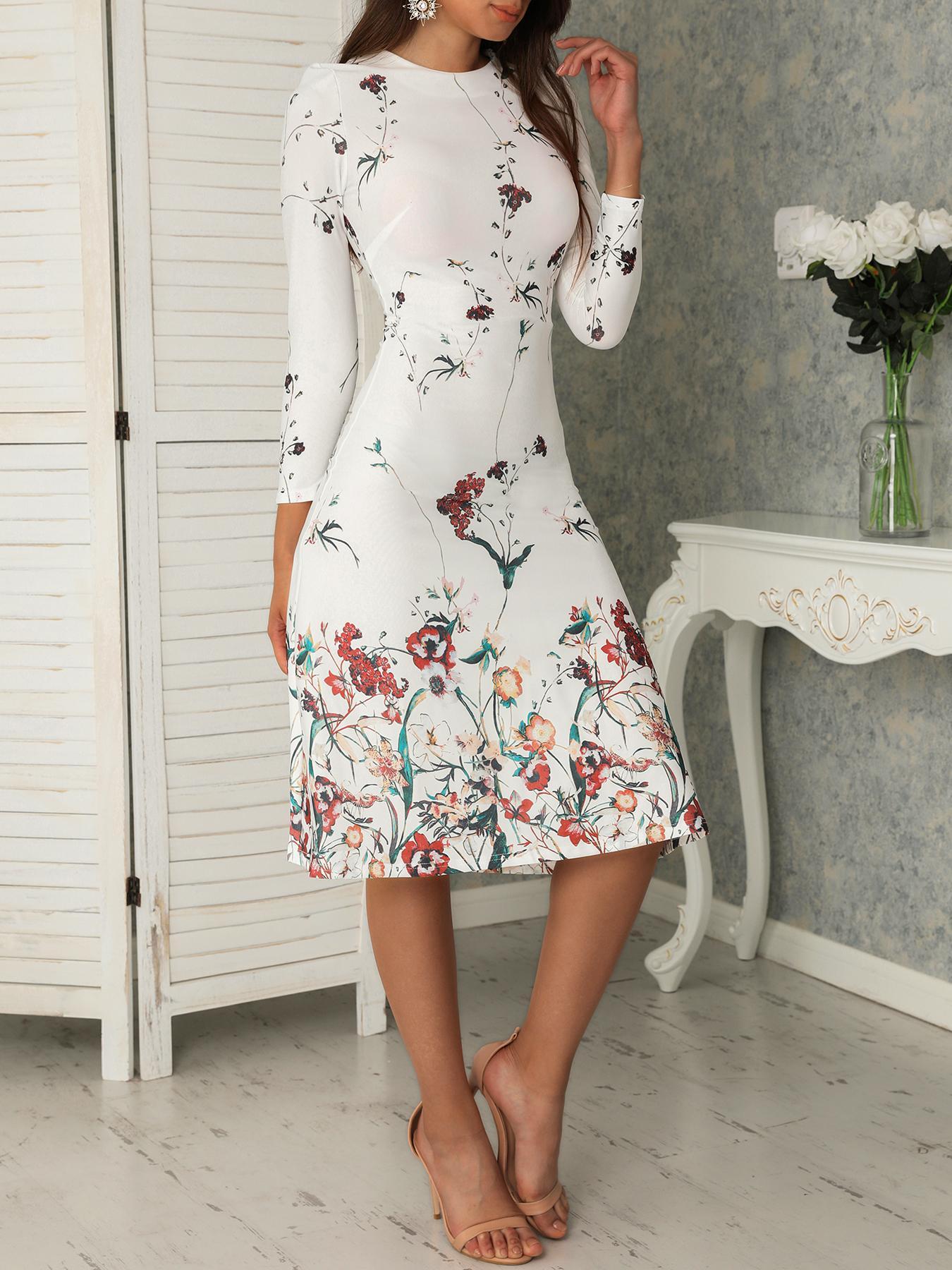 boutiquefeel / Vestido informal de la impresión floral de la moda