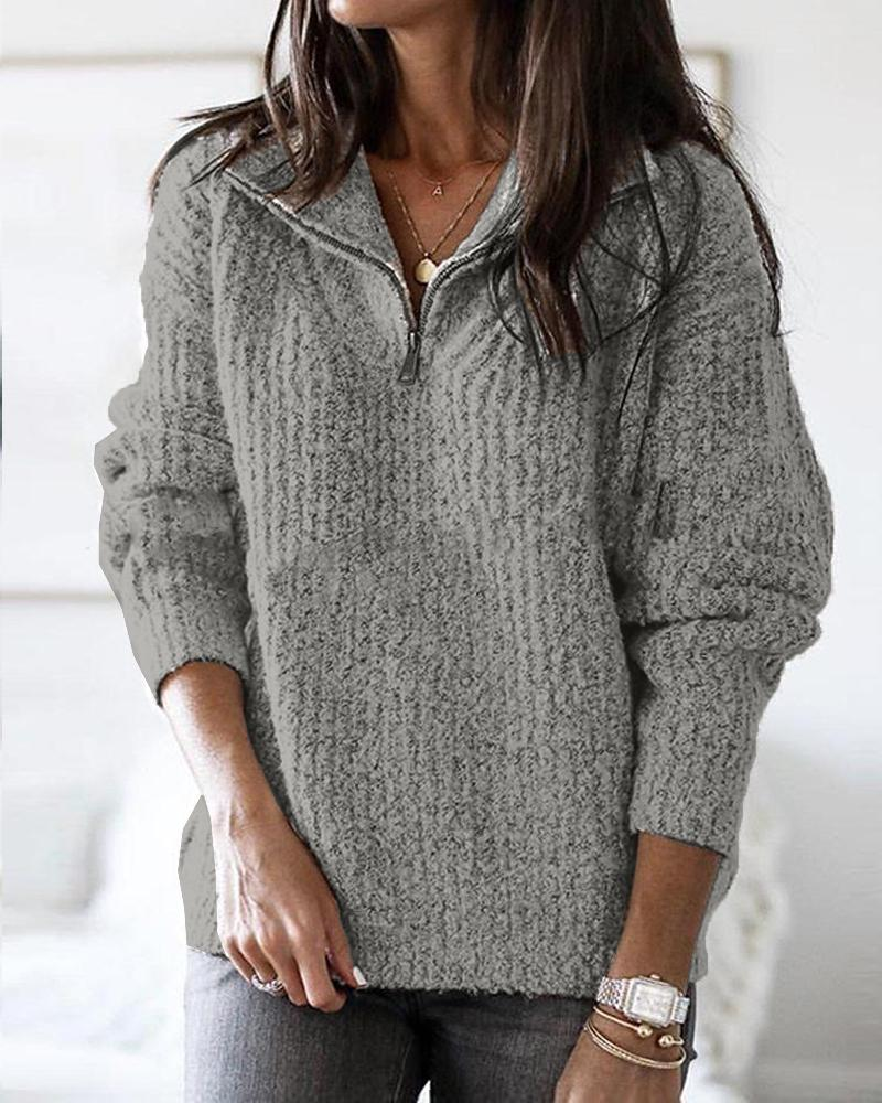 Zip Neck Long Sleeve Sweater фото