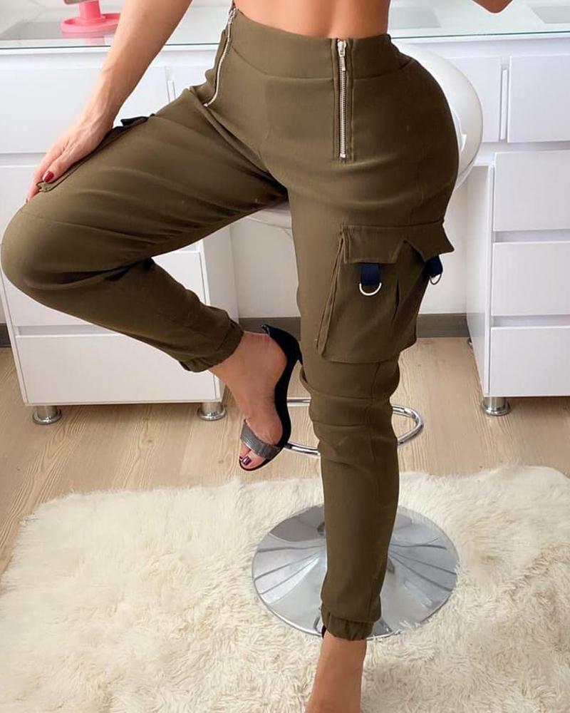 chicme / Pantalones cargo con cremallera de diseño de bolsillo