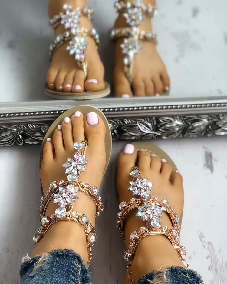 Shiny Embellished Toe Post Flat Sandals