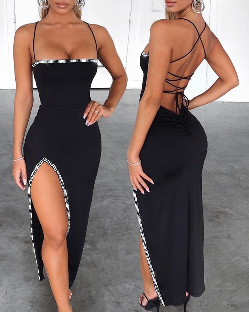 Studded Bandage Backless Slit Dress фото