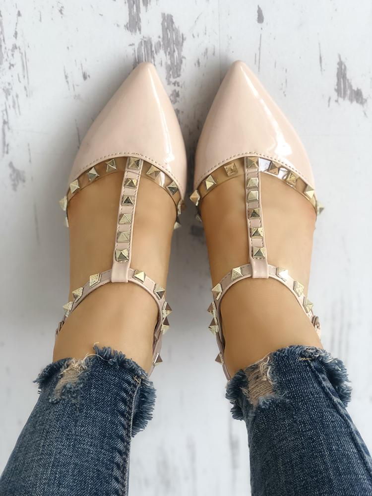 Rivets Embellished Pointed Toe Thin Heeled Sandals