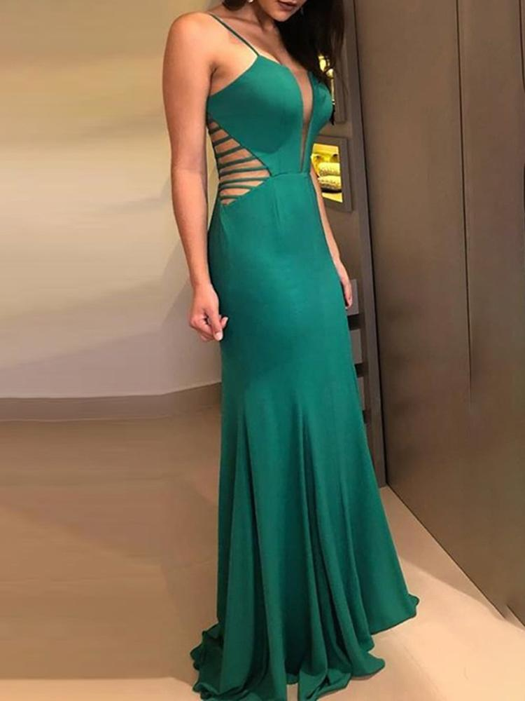 Plunge Ladder Cut Out Waist Evening Dress