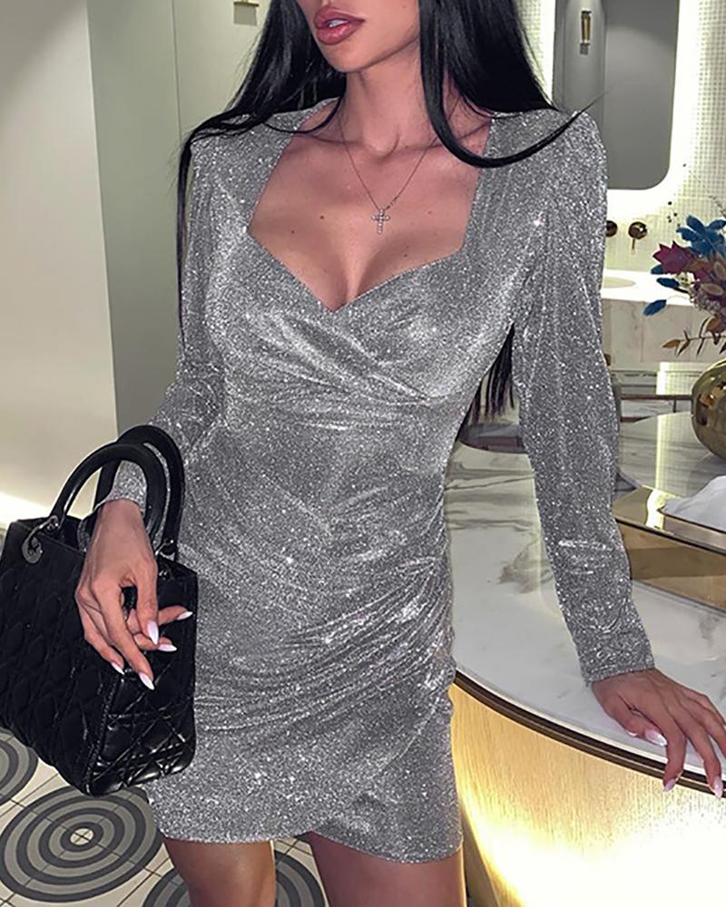 Image of Glitter Ruched Irregular Party Dress