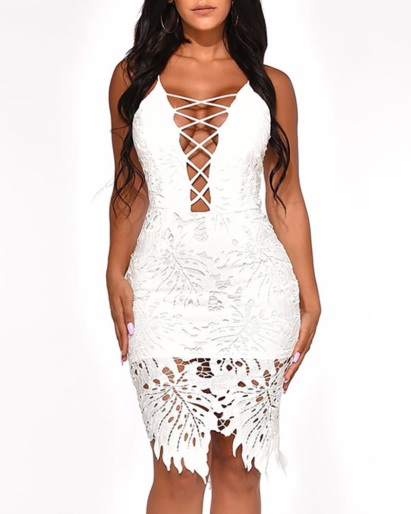 ivrose / Lace-Up oco Out Lace vestido Bodycon