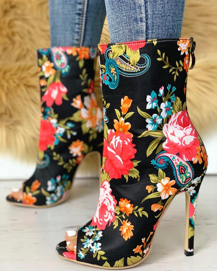 Floral Peep Toe Thin Heeled Boots