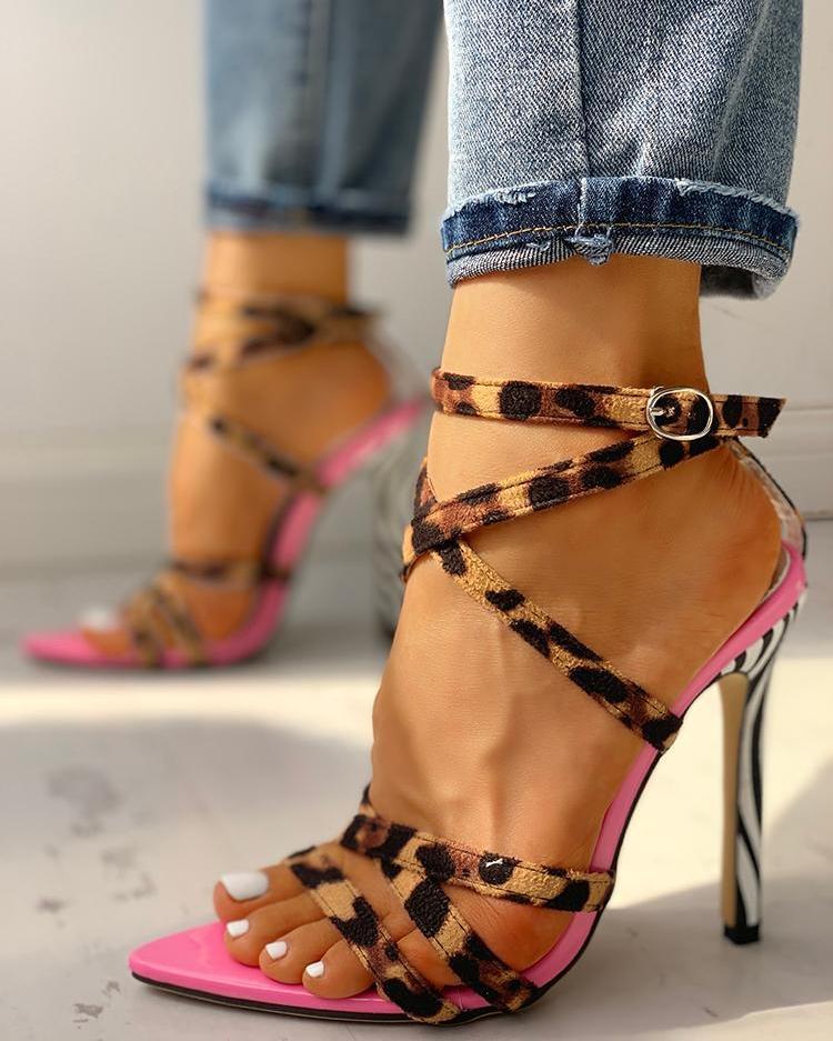 Multi-Strap Crisscross Thin Heeled Sandals фото