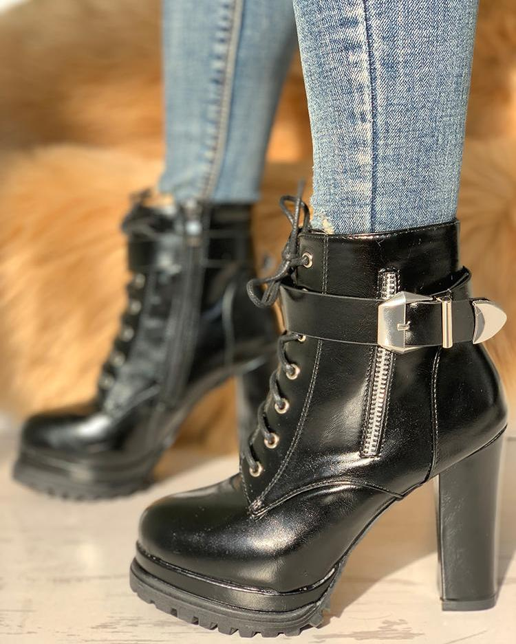 joyshoetique / Platform Buckle Lace-Up Chunky Heeled Boots