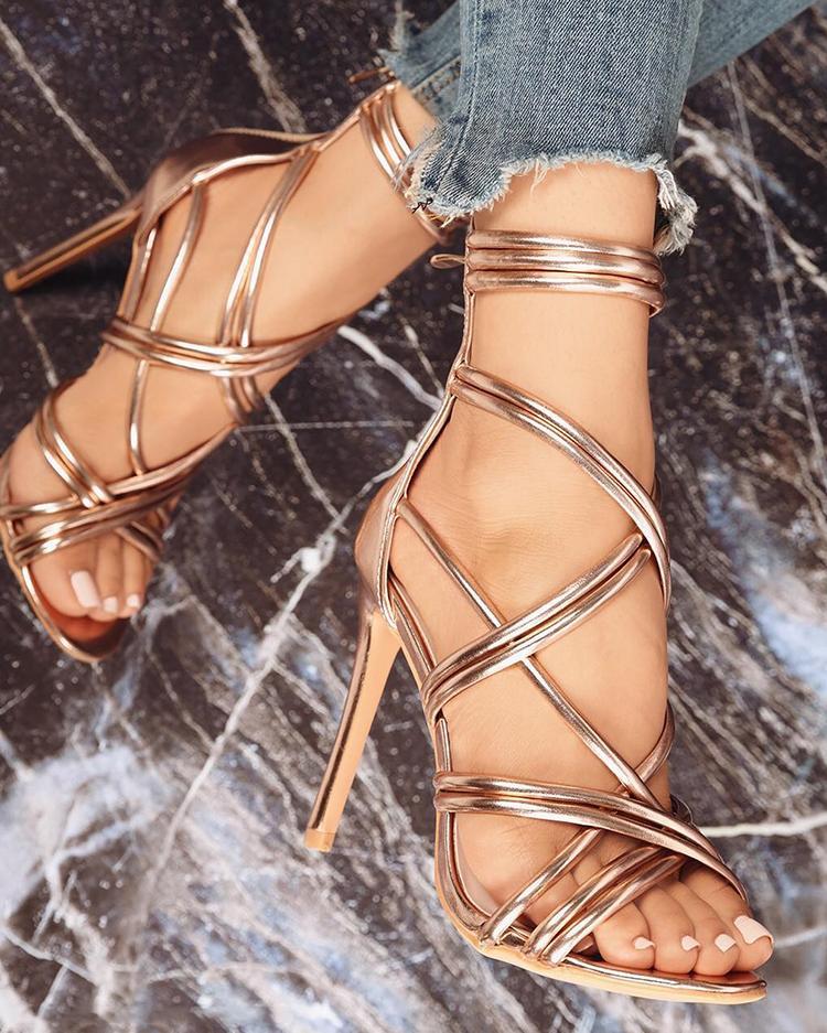 ivrose / Stylish Lace-up Thin Heeled Sandals