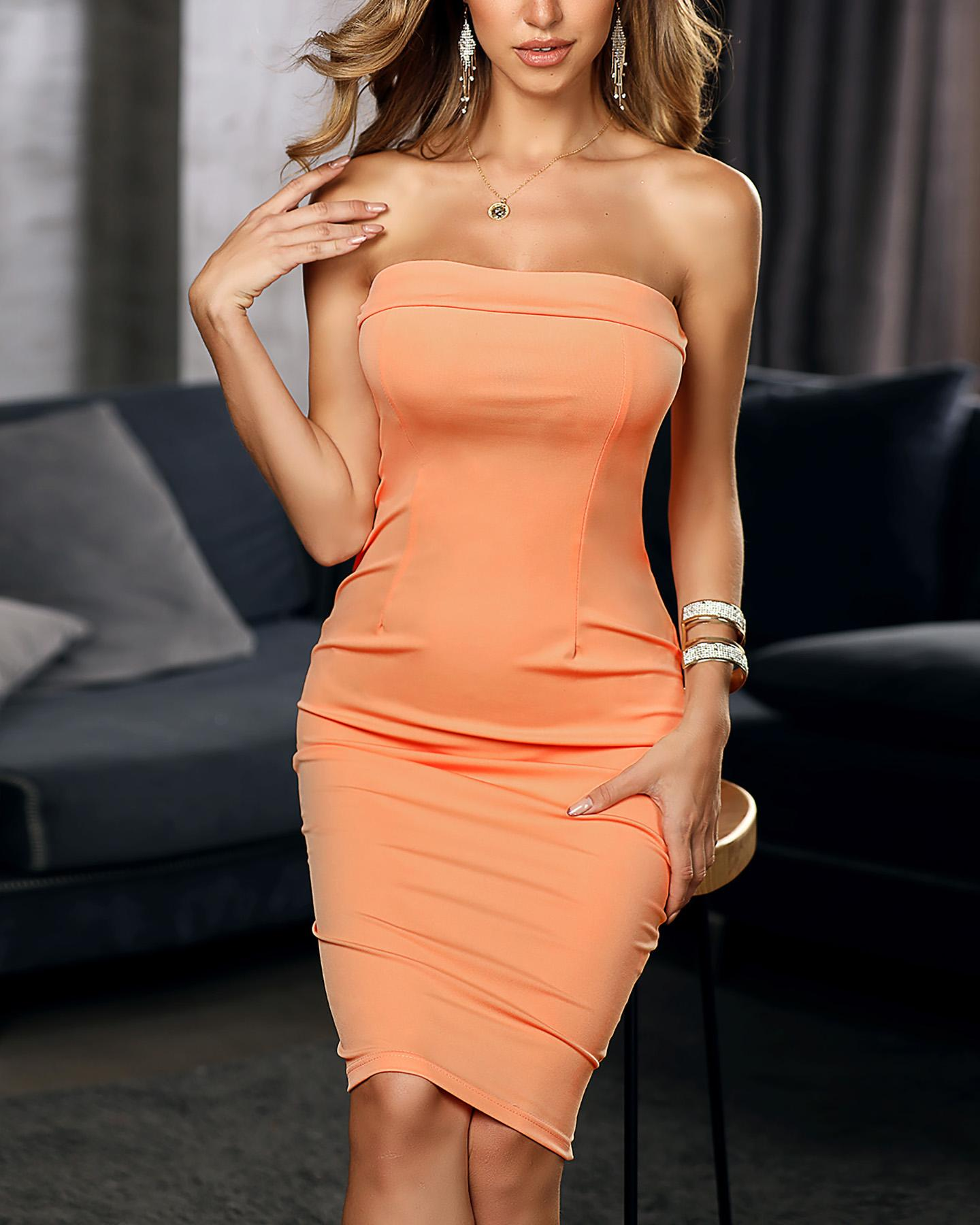 Solid Sleeveless Tube Bodycon Dress фото