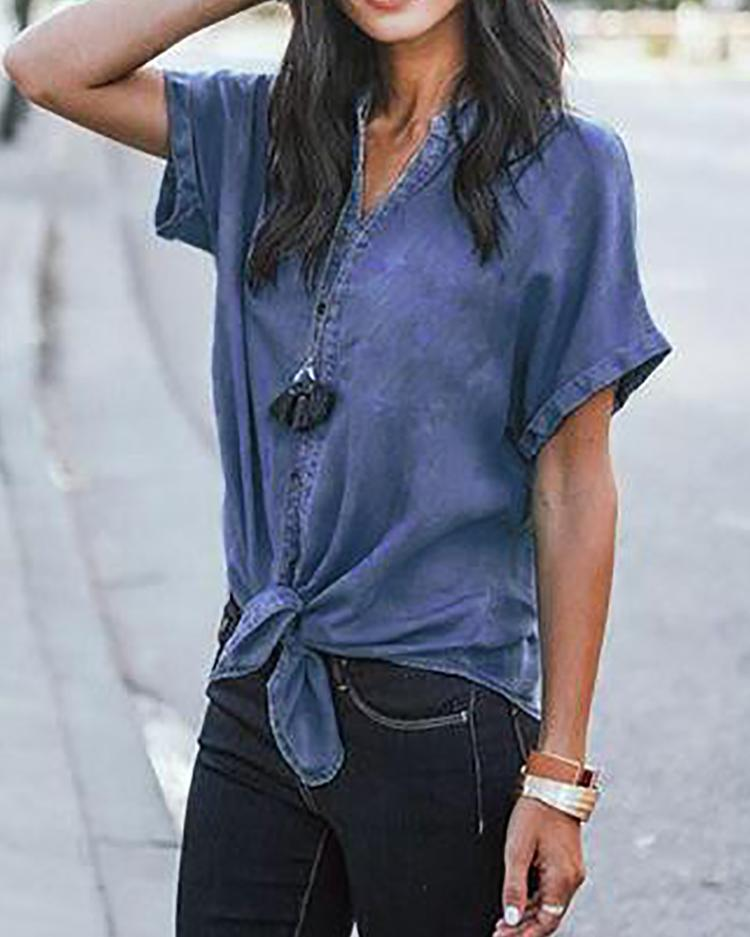 Denim V-Neck Knotted Front Casual Blouse