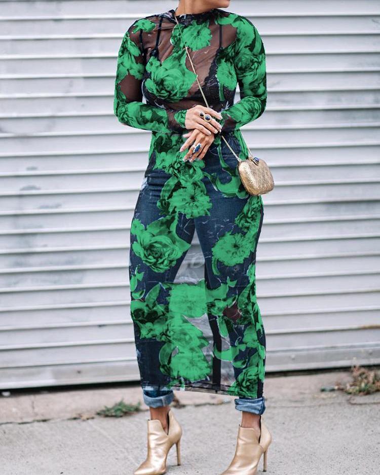 See Through Floral Print Bodycon Mesh Dress