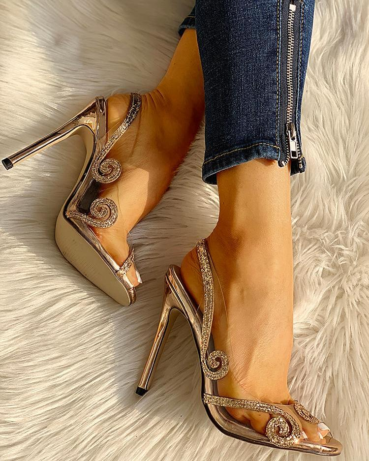 Glitter Detail Transparent Slingback Thin Heels