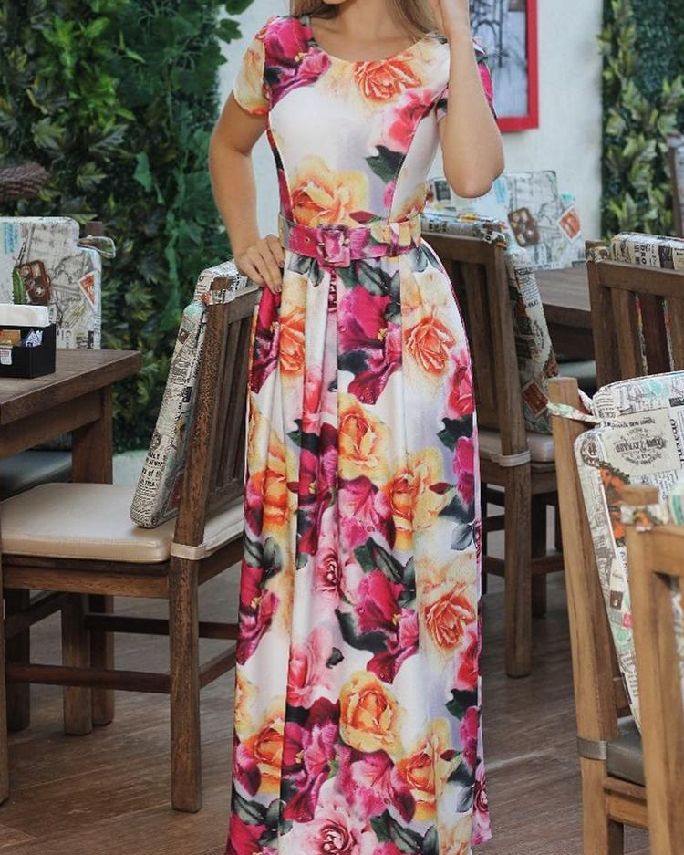 chicme / Floral Print Self Belted Maxi Dress