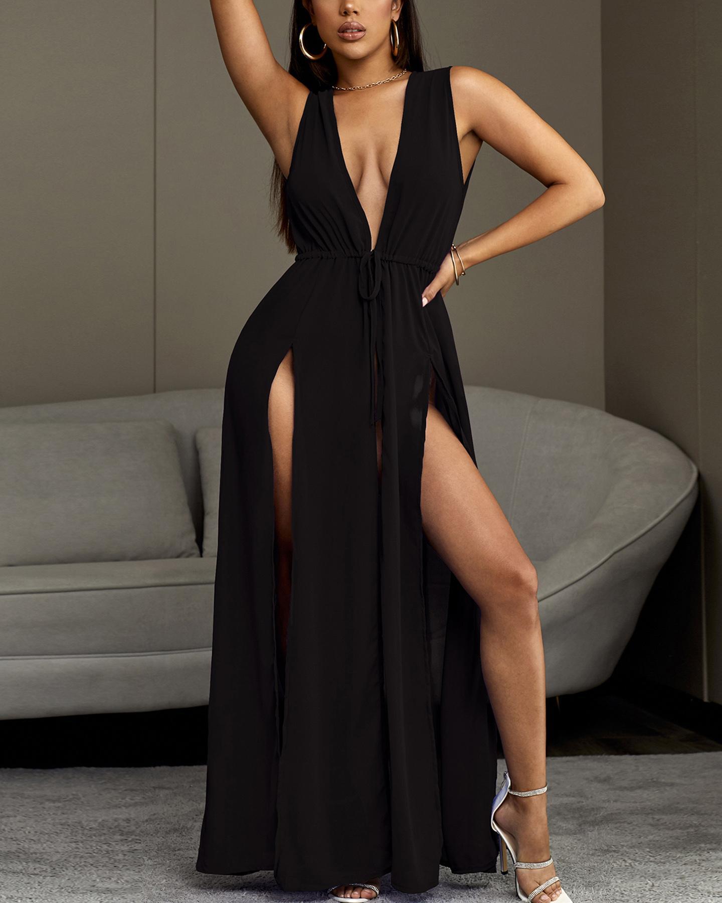 Chiffon Thigh Slit Beach Dress Cover Ups фото